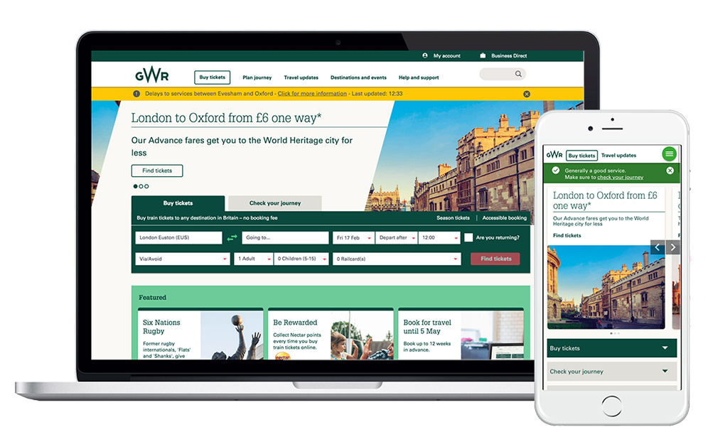 Devices displaying GWR website