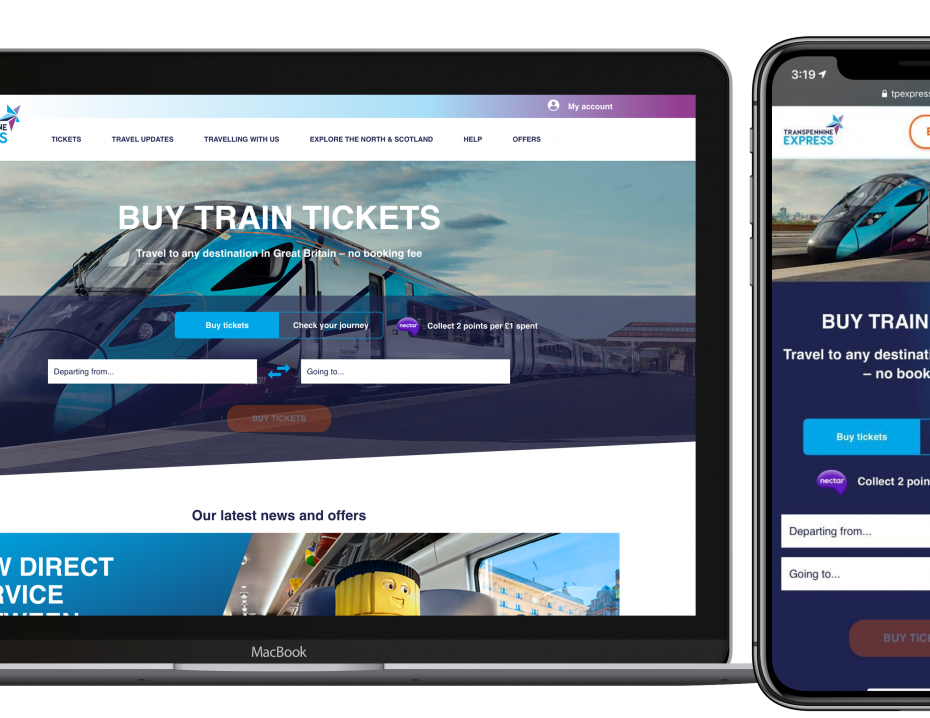 TransPennine Express website on tablet